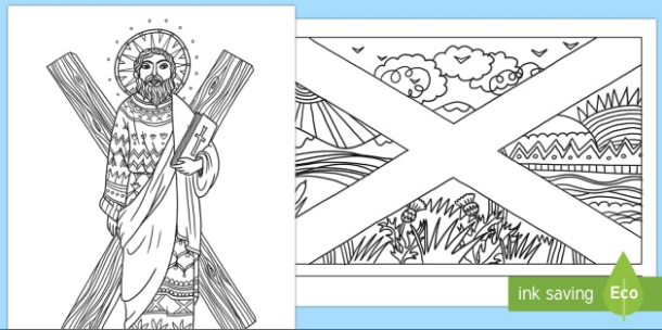 st andrew's day colouring pictures